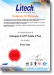 Certificate Of Warranty (new) - Limited 5 year UTP Cat 6 Cable